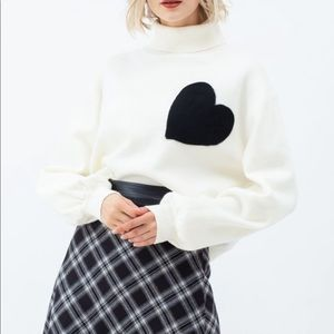 NWT EMBROIDERED HEART HIGH NECK KNIT SWEATER